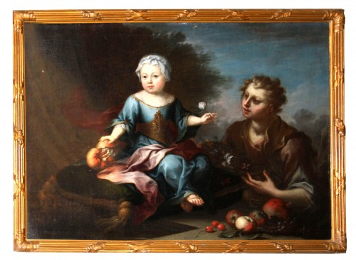 Children and Young Boy, 18th century painting