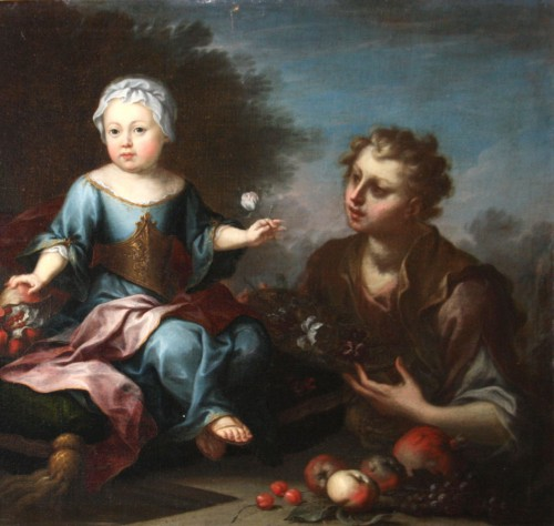Children and Young Boy, 18th century painting - Paintings & Drawings Style