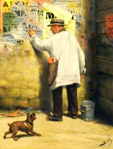 """Adolf SCHILL (1848-1911) """"Le colleur d'affiches"""" - Paintings & Drawings Style"""