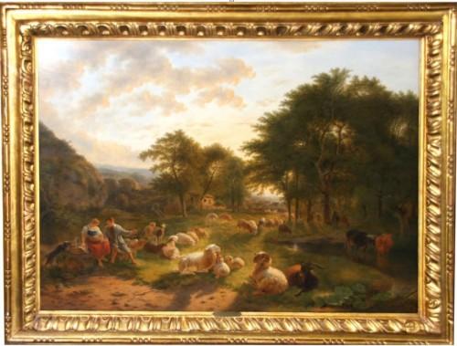Pastoral scene  -  Balthazar OMMEGANCK (1755-1826)
