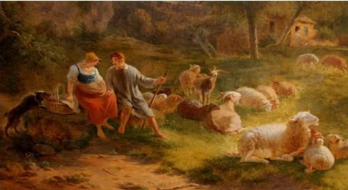 Pastoral scene  -  Balthazar OMMEGANCK (1755-1826) - Paintings & Drawings Style