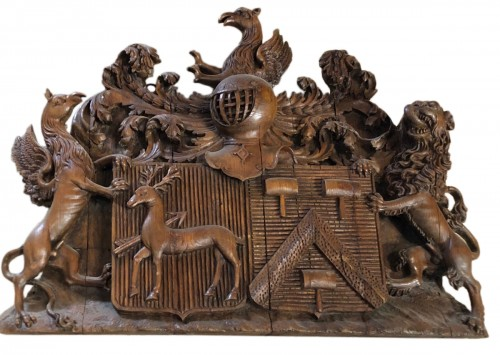 17th century carved oak coat of arms