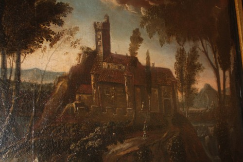 Landscape with castle, Louis XIV period  - Paintings & Drawings Style