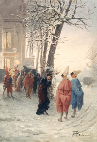 Masked Winter Ball - Alessandro BALDUINO (1844 - 1891) - Paintings & Drawings Style