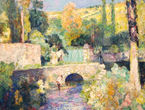 Bridge and river in Auvergne - Victor CHARRETON (1864-1936) - Paintings & Drawings Style