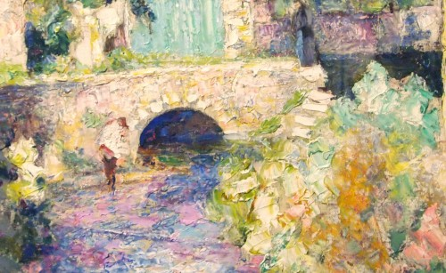 Paintings & Drawings  - Bridge and river in Auvergne - Victor CHARRETON (1864-1936)