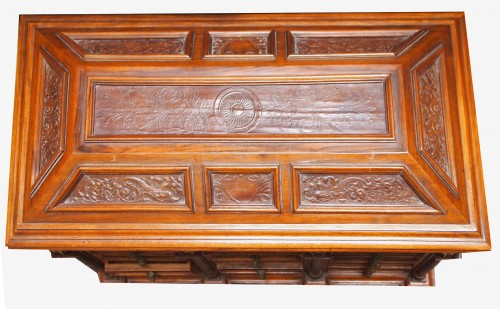 Furniture  - Italian cabinet in walnut and embossed leather, 19th cnetury