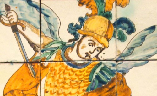 Religious Antiques  - Set of 12 tiles, Saint Michel, late 17th early 18th