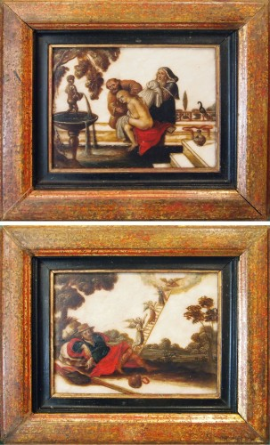 Pair of oils on âlbatre, Religious subjects