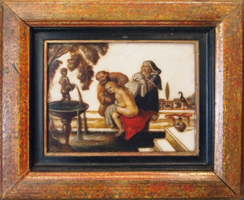 Pair of oils on âlbatre, Religious subjects  - Religious Antiques Style