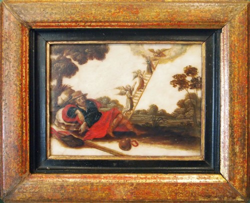 Religious Antiques  - Pair of oils on âlbatre, Religious subjects