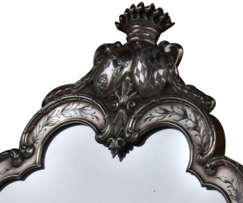 Rare Silver Table Mirror  - Antique Silver Style