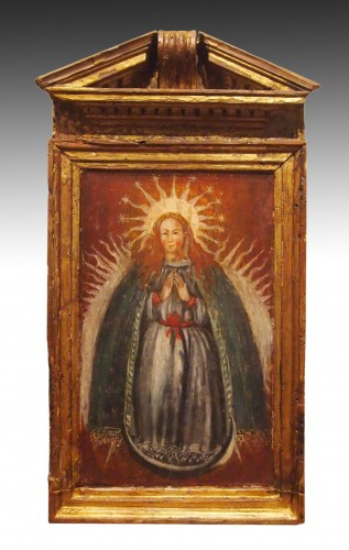 Religious Antiques  - Religious Oil On Wood, Early 18th Century