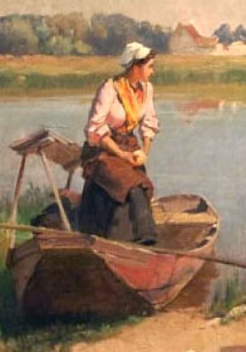 Paintings & Drawings  - Laundress - Emile-Charles DAMERON (1848-1908)