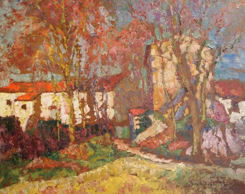 Paintings & Drawings  - Landscape with hamlet - Victor CHARRETON (1864-1936)
