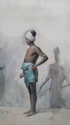 Young African by Gustavo SIMONI  - Paintings & Drawings Style