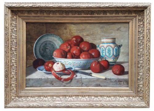 Still life with apples and earthenware  - Jean-Louis GEORGES (?-1893)
