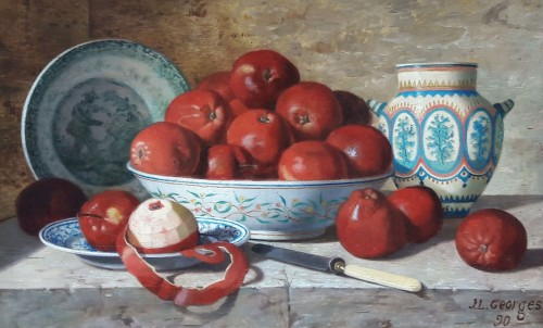 Still life with apples and earthenware  - Jean-Louis GEORGES (?-1893) - Paintings & Drawings Style