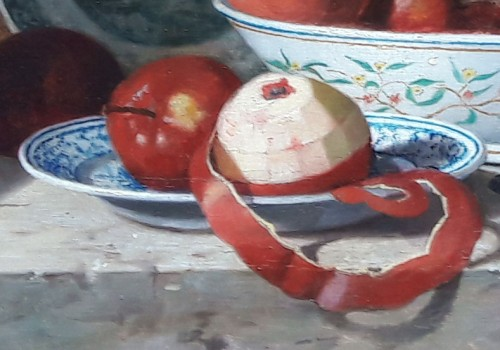 19th century - Still life with apples and earthenware  - Jean-Louis GEORGES (?-1893)