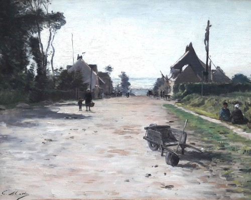 Animated street in Neuville les Dieppe by Emile Louis MATHON