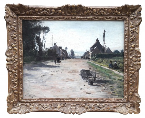 Animated street in Neuville les Dieppe by Emile Louis MATHON - Paintings & Drawings Style