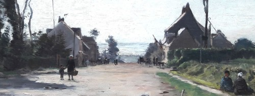 Paintings & Drawings  - Animated street in Neuville les Dieppe by Emile Louis MATHON