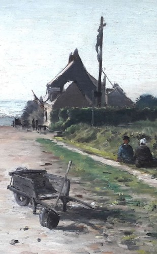 Animated street in Neuville les Dieppe by Emile Louis MATHON -