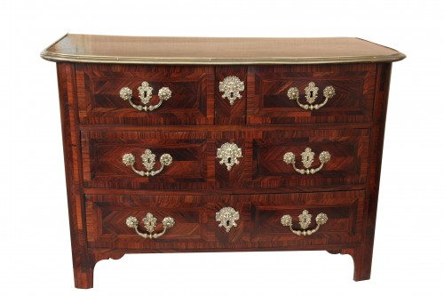 Louis XIV century marquetry chest of drawers with ingot moulds - Furniture Style Louis XIV