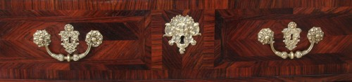 17th century - Louis XIV century marquetry chest of drawers with ingot moulds