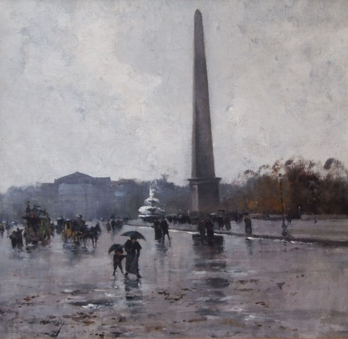 Place de la Concorde by GALIEN LALOUE, signed by his psedudonym, Liévin  - Paintings & Drawings Style