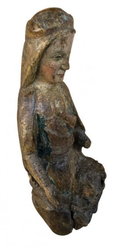 Virgin and Child in polygonal wood, circa 1300 - Religious Antiques Style Middle age