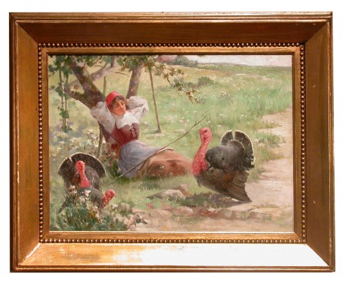 Young woman and turkeys - Charles John ARTER (1860 - 1923)