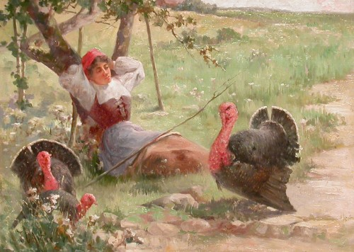 Young woman and turkeys - Charles John ARTER (1860 - 1923) - Paintings & Drawings Style