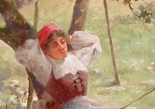 Paintings & Drawings  - Young woman and turkeys - Charles John ARTER (1860 - 1923)