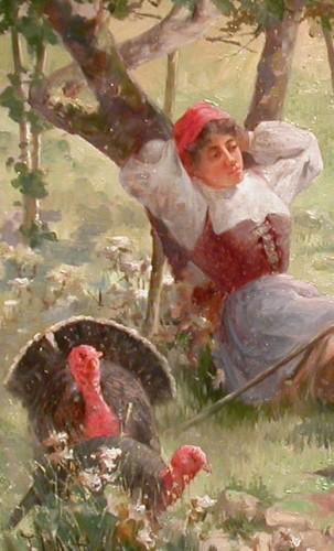 Young woman and turkeys - Charles John ARTER (1860 - 1923) -