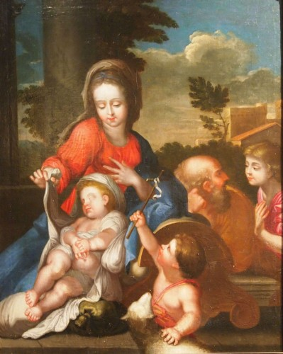 Holy family with Saint John the Baptist, , follower of Sebastien BOURDON