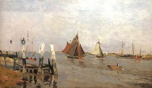 Boats in an estuary by Edmond Marie PETITJEAN