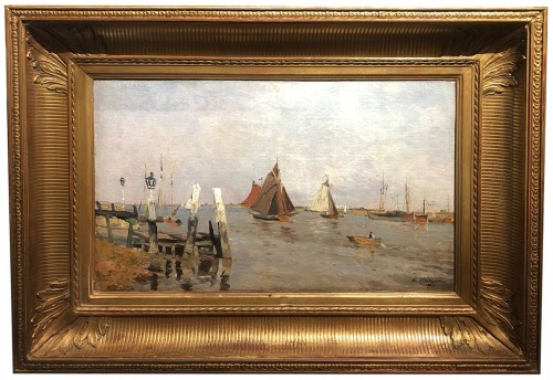 Boats in an estuary by Edmond Marie PETITJEAN  - Paintings & Drawings Style