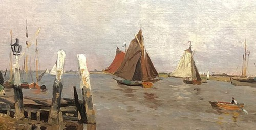 Paintings & Drawings  - Boats in an estuary by Edmond Marie PETITJEAN