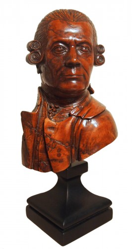 18th century wooden bust of a man