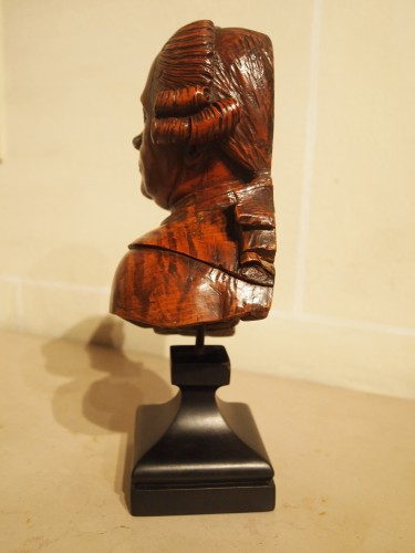 18th century wooden bust of a man -