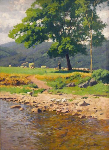 The shepherd at the water's edge  - Otto GUNTHER-NAUMBURG (1856-1941)