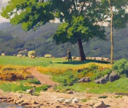 19th century - The shepherd at the water's edge  - Otto GUNTHER-NAUMBURG (1856-1941)