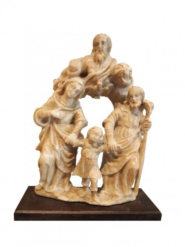 Holy family in alabaster, 16th century