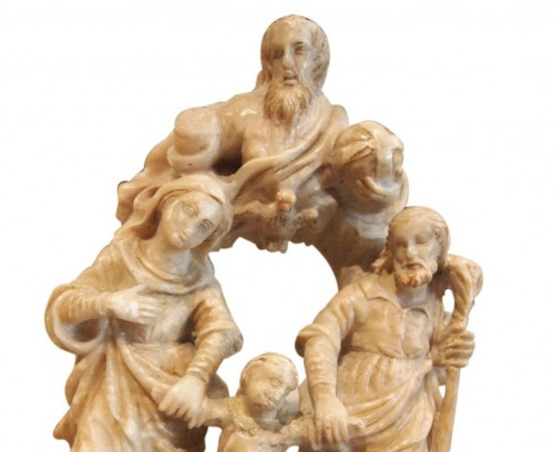 Holy family in alabaster, 16th century  - Religious Antiques Style