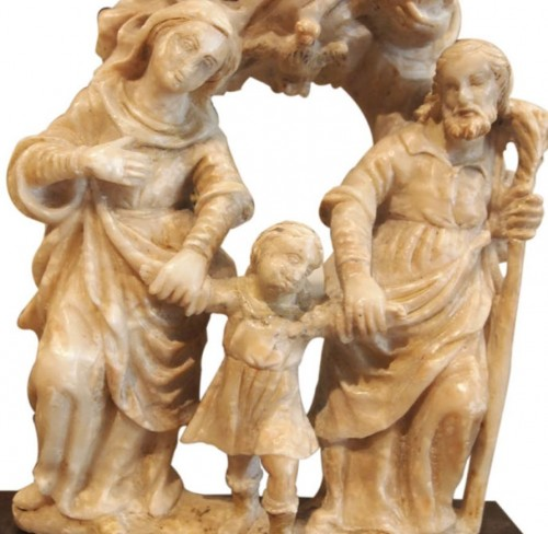 Religious Antiques  - Holy family in alabaster, 16th century