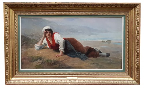 Breton woman lying in front of the sea - François FEYEN-PERRIN (1826-1888)