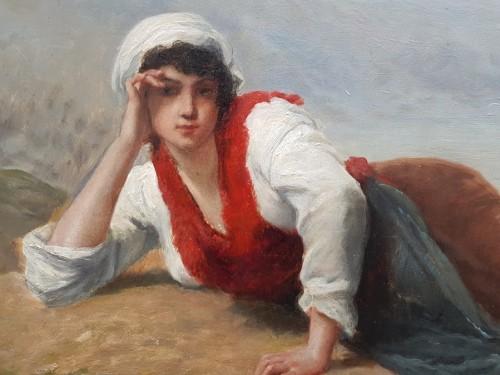 Breton woman lying in front of the sea - François FEYEN-PERRIN (1826-1888) - Paintings & Drawings Style