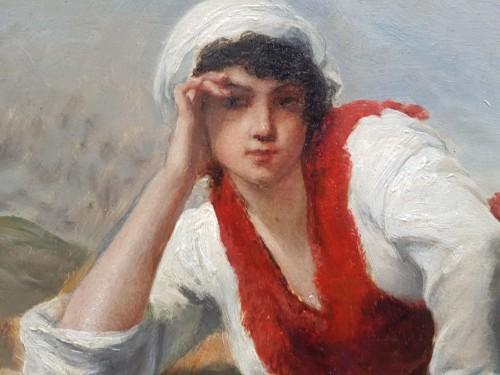 Paintings & Drawings  - Breton woman lying in front of the sea - François FEYEN-PERRIN (1826-1888)