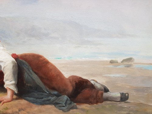19th century - Breton woman lying in front of the sea - François FEYEN-PERRIN (1826-1888)
